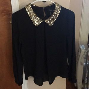 Black gold sequined collar long sleeved blouse